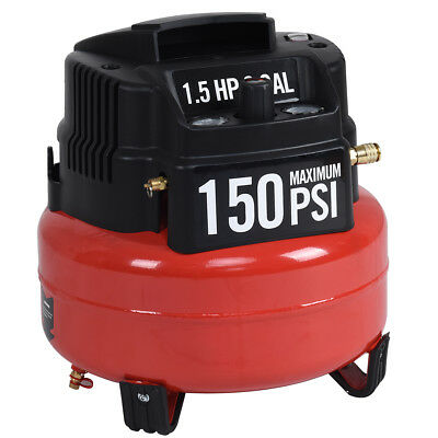 6 Gallon 150 Psi Oil-free Pancake Air Compressor 1.5 Hp Motor Portable New