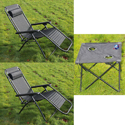 2 X TEXTOLINE RECLINING CHAIRS GARDEN SET OUTDOOR  WITH FREE FOLDING TABLE
