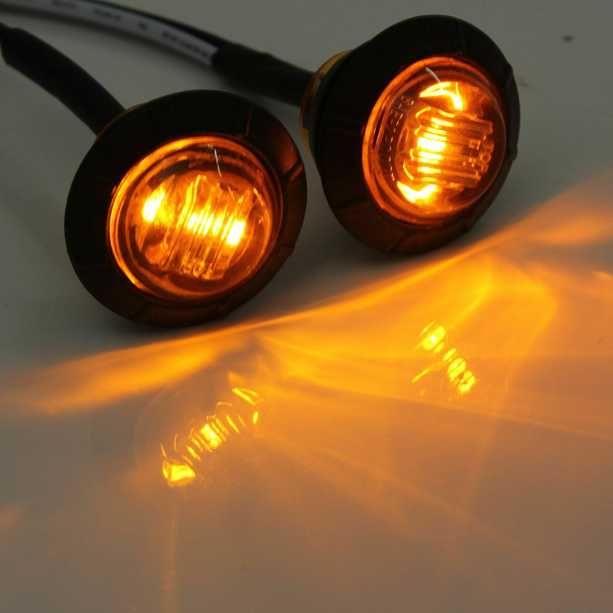 """Amber Lens Mini 12V 3/4"""" Round Side 3 LED Marker Light US Stock"""