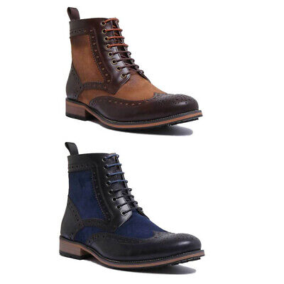Justin Reece Jack Mens Smart Casual Brogue Boots In Brown Sizes UK 6 - 12