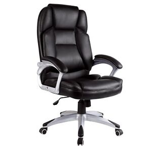 Luxury High Back Black Office Chair Faux Leather Computer Chairs New - FX401