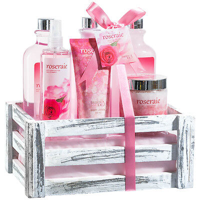 Bath Body and Spa Gift Basket Set for Women in Pink Rose Aromatherapy Fragrance