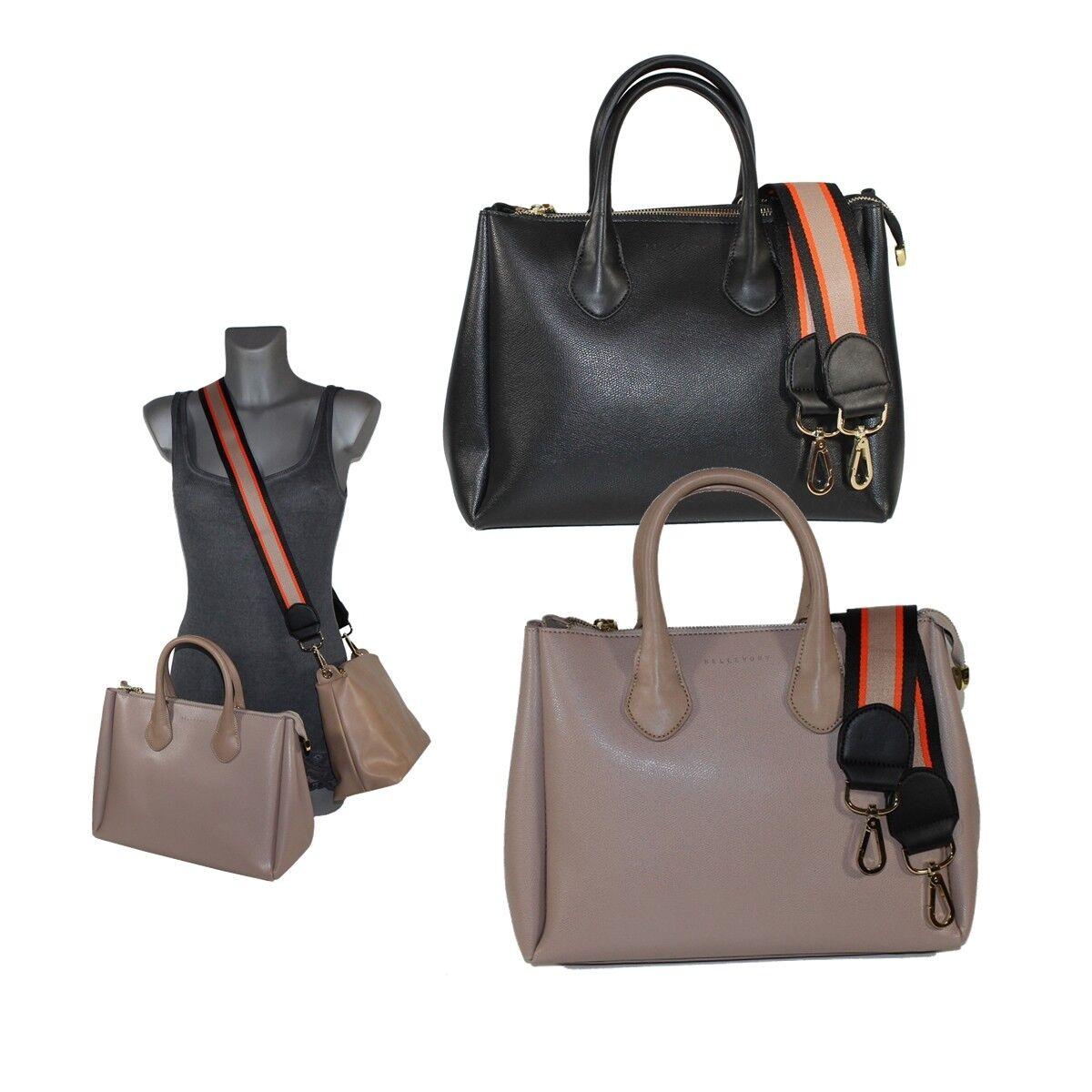 Bellevory  Exklusive Damen Handtasche Henkeltasche mit buntem Umhängeriemen GX0