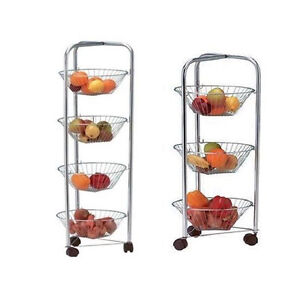 3 4 Tier Chrome Plated Kitchen Fruit Cart Vegetable Trolley Storage Stand Rack Ebay
