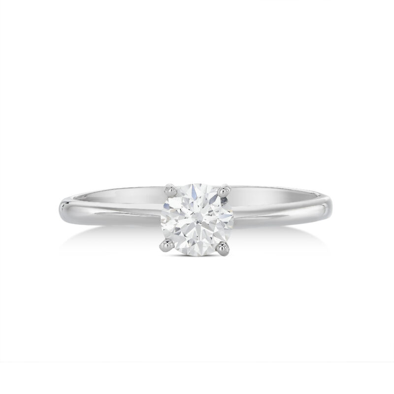 Round Cut Diamond Solitaire Engagement Ring 14kt White Gold Jewelry 0.25 Ct D/vs