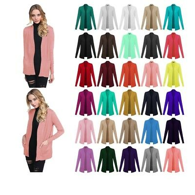 FashionOutfit Women's Basic Relaxed Solid Open Front Pockets Sweater Cardigan