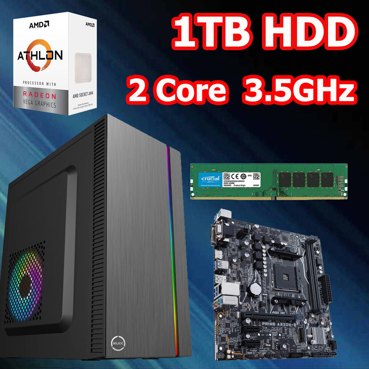 Computer Games - Desktop PC AMD Dual Core Athlon 3000G 3.5GHz Game office Home Computer 4GB 1TB