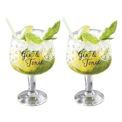 Conjunto de 2 Grandes Decorado Copa Gin & Tonic G&t Bol Globo Vasos 650 Ml segunda mano  Embacar hacia Argentina