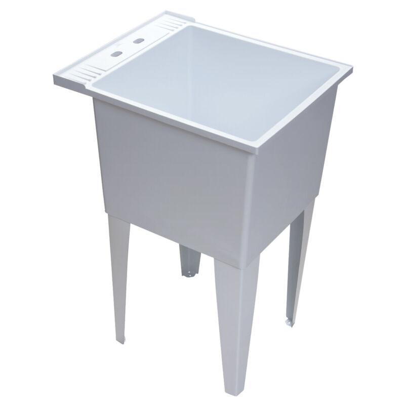 "PROFLO PFLT2024 White 20"" Single Compartment Floor Mounted Laundry Sink"
