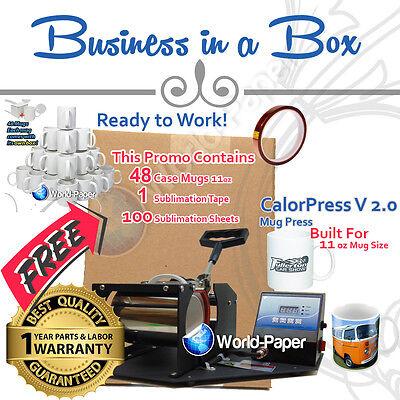 Cup Mug Press Printer Digital Combo With 48 Case 11 Oz Mugs Tape Paper