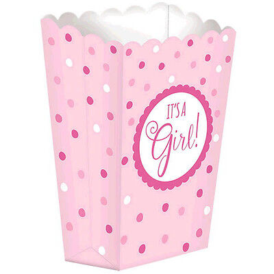 Pink Baby Shower It's a Girl Party Loot Gift Favor Popcorn Boxes
