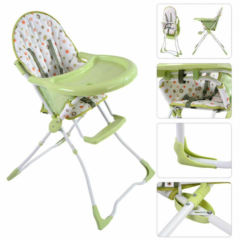 Baby High Chair Infant Toddler Feeding Booster Seat Folding Safe Portable Green
