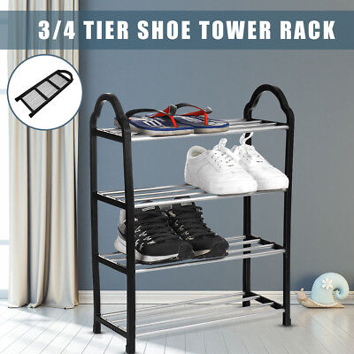 3/4 Tier Space Saving Storage Organizer Free Standing Shoe Tower Rack Shelves ! - 4-tier Tower