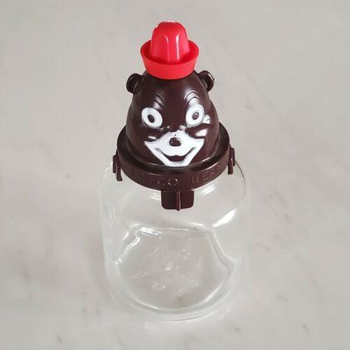 Vintage Bosco Bear Chocolate Syrup Bank with Original Glass Jar - Slot Unbroken