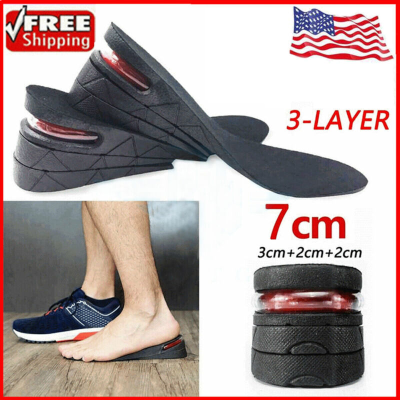 7cm Men Shoe Lift Insole Air Cushion Heel insert Increase Height 3-Layer Taller