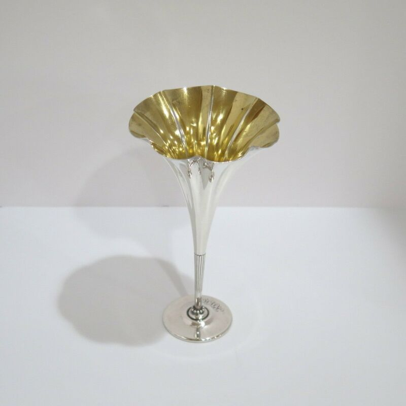 8 in - Sterling Silver Gilded Interior Tiffany & Co. Antique Flower Shaped Vase