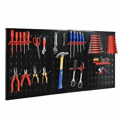 Metal Pegboard Garage Storage Organizer Wall Mount Panel Board Hanger Tool Black