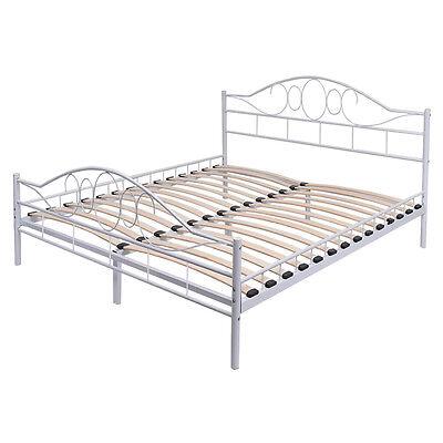 Queen Size Wood Slats Steel Bed Frame Platform Headboard Footboard Bedroom White