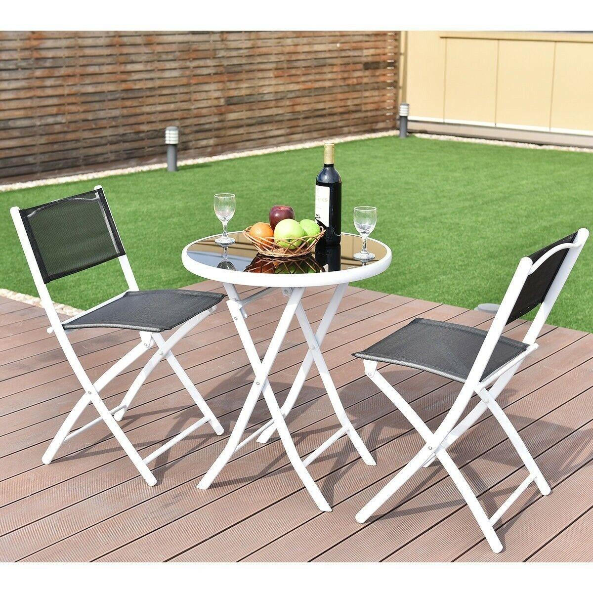 Garden Furniture - 3 PCS Folding Bistro Table Chairs Set Garden Backyard Patio Furniture Black New