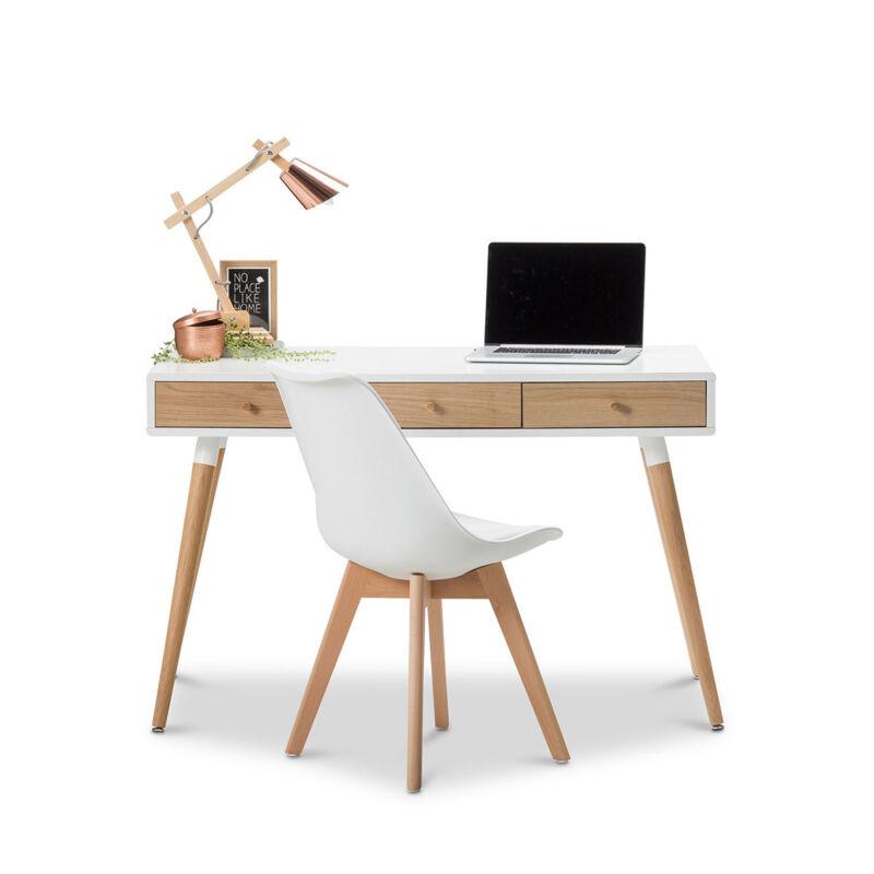timber office desk. modern white scandinavian design student home office timber desk w oak legs