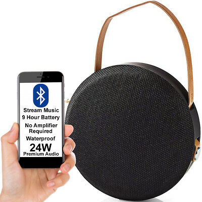 24W Impermeable Altavoz Bluetooth -negro- Wireless Portátil Recargable Bajo Aux