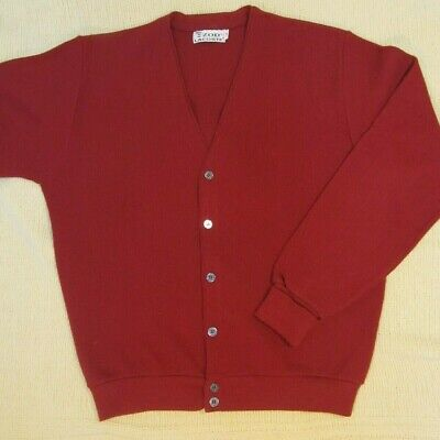 Vintage IZOD LACOSTE'-Famous! Orlon Golf Cardigan Sweater- Red/Med