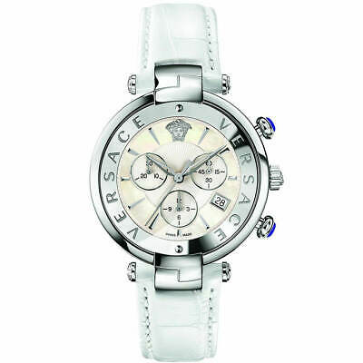 Versace Women's Watch Reve Chronograph MOP Dial White Leather Strap VAJ020016