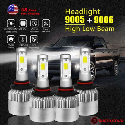 For GMC C10 Sierra Yukon 1994- 1998 LED Headlight High Low Beam White 9005+ 9006