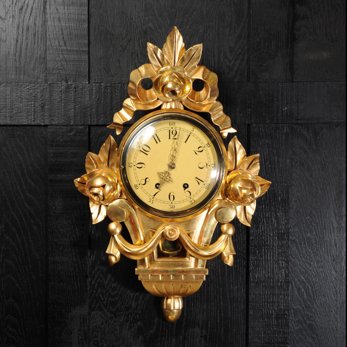 SWEDISH WALL CLOCK GUSTAVIAN REVIVAL ROCOCO GILT WOOD GESSO C1950 FULLY WORKING