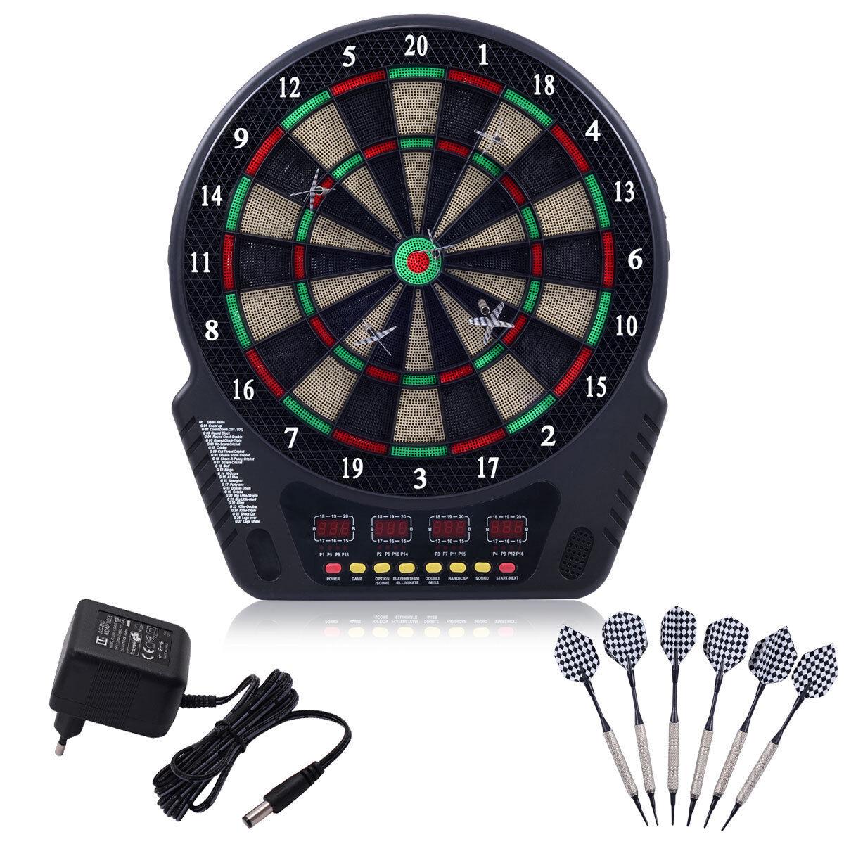 Elektronische Dartscheibe Dartboard Dartspiel Dartpfeil Dart Board +6 Pfeile LED