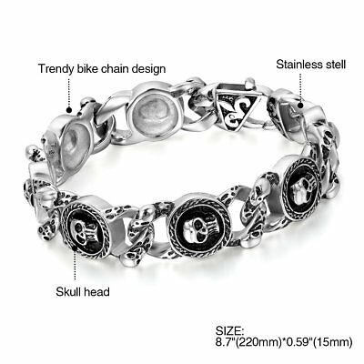 Biker Gothic Skull Stainless Steel Bracelet for Men Vintage Old Metal Finishing