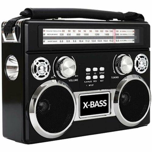 Supersonic SC-1097BT 3 Band Radio with Bluetooth and Flashlight Black