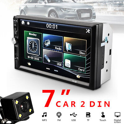 "Car Stereo Radio Bluetooth Audio Receiver Double 2Din 7"" Touch Screen USB AUX TF"