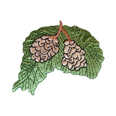 - ID 7179 Pinecones On Tree Branch Patch Evergreen Embroidered Iron On Applique