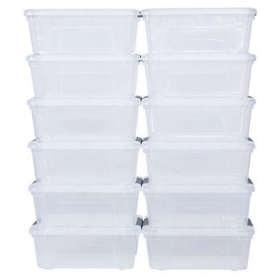 12 PC Lot Clear Plastic Stackable Storage Box Tub Bin Lid Latch Handle Organizer](Plastic Storage Tubs)