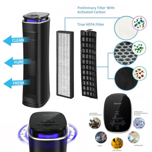 Air Cleaner 99.97% Pollution Filtered HEPA Filter Air Purifier LED Mosquito Trap