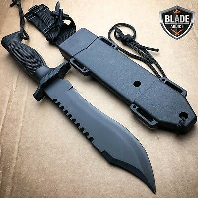 BLACK TACTICAL HUNTING FIXED BLADE MILITARY COMBAT SURVIVAL KNIFE + HARD SHEATH