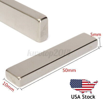 N50 Super Strong Long Block Bar Fridge Magnet 50x10x5mm Rare Earth