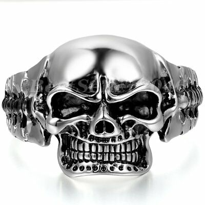 Men Huge Heavy Skull Head Stainless Steel Cuff Bangle Bracelet Halloween Jewelry