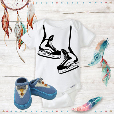 Hockey Skates Outfit Onsies & Blue Bow Tie Shoes Best Baby Shower Gifts