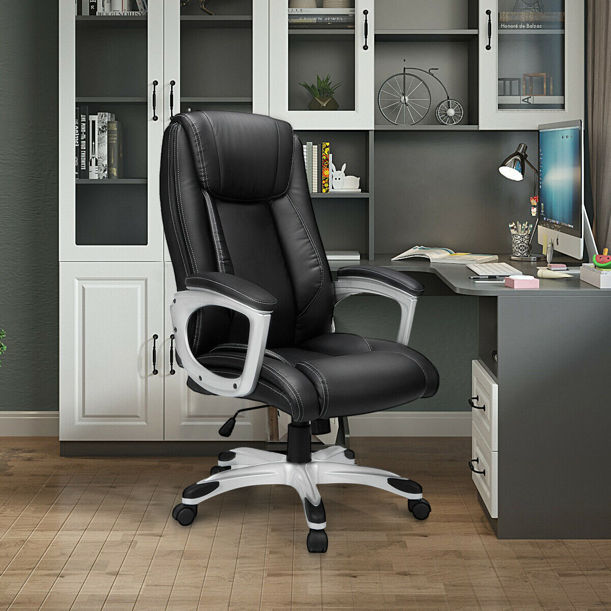 YODOLLA Leather High Back Ergonomic Office Chair Executive Swivel Computer Chair Chairs