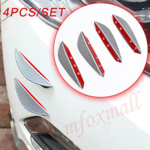 Universal Car Body Air Spoiler Front Lip Bumper Splitter Fins Carbon Fiber Trim