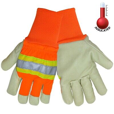 12 Pairs Global Glove High Visibility Insulated Pigskin Leather Work Gloves