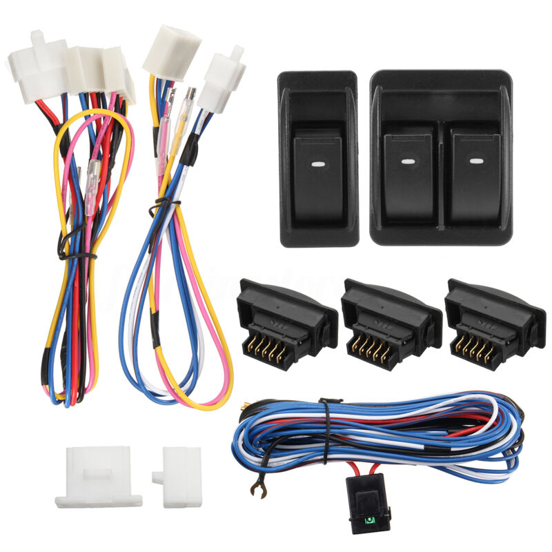 12V Universal Auto Car Power Door Window Glass Lift Switch Harness Cable Kits