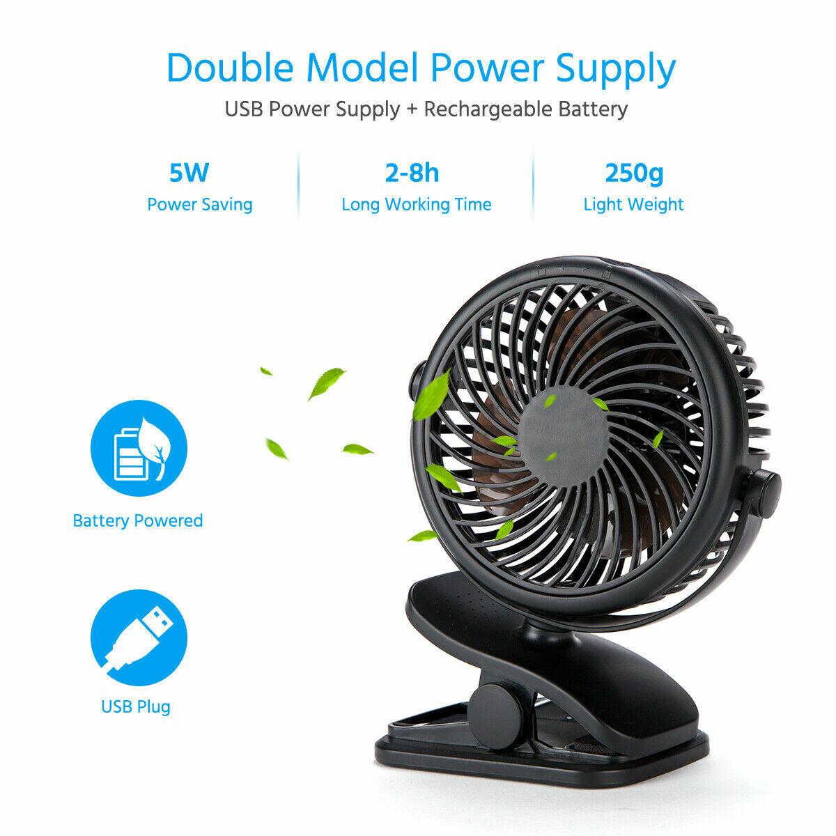 USB Rechargeable Mini Cooling Fan Clip Desk Baby Stroller Portable 2