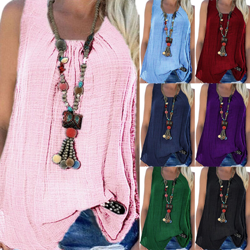 Plus Size Womens Boho Sleeveless T-shirts Vest Tank Tops Bag