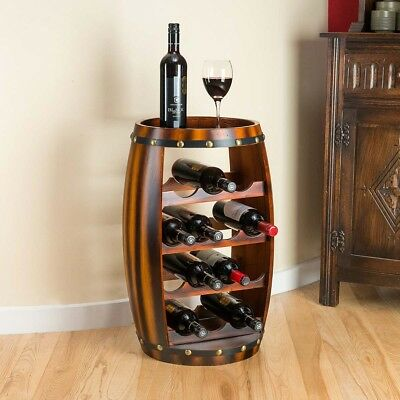Wooden Barrel Shaped Wine Rack 14 Bottle Holder Oak Effect Table Top Christow ()