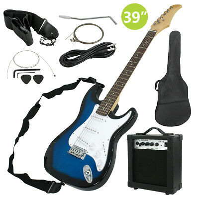 Full Size Blue Electric Guitar With Amp  Case And Accessories Pack Beginner