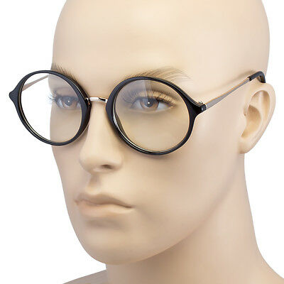 Large Oversized Big Round Clear Lens Round Circle Eye Glasses Black White - Black Circle Glasses