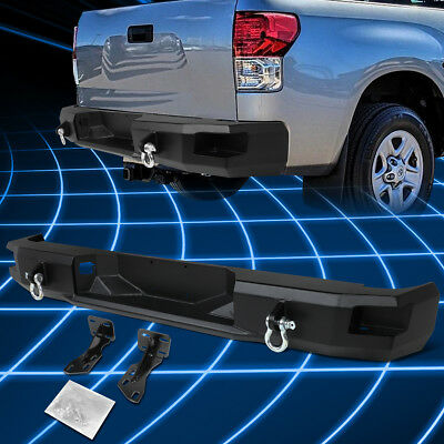 For 07-13 Toyota Tundra Black Rear Heavy Duty Steel Step Bumper With Dual D-Ring